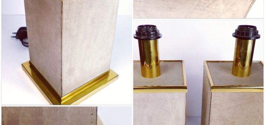 Pareja de lámparas francesas en latón y piel, años 60